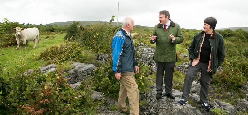 Joe Carey in Carron recently with Michael Davoren Burren IFA and Sharon Parr, scientist with the Burren Programme.