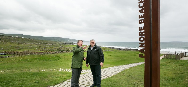 Joe Carey with Paul Connole in Fanore on the Wild Atlantic Way.