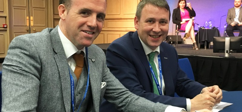 Fine Gael Deputies Tom Neville and Joe Carey at the Parliamentary Mental Health Forum in Dublin Castle.