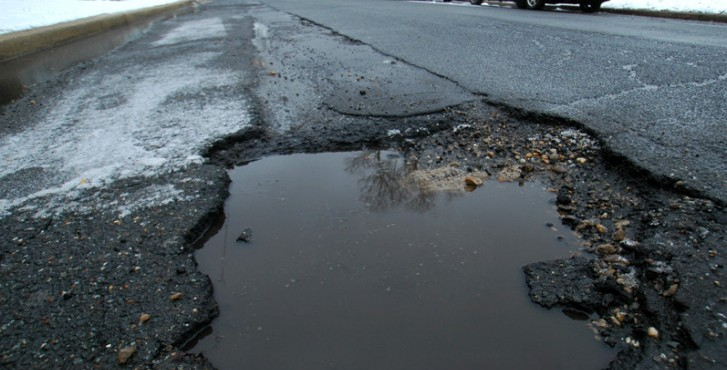 Weather damaged road